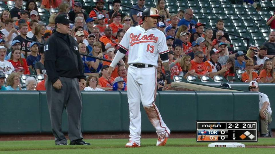 Machado gets two bases on steal