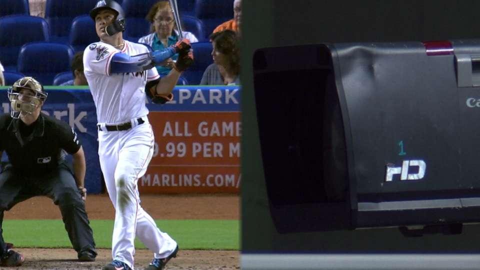 Stanton's 53rd homer hits camera