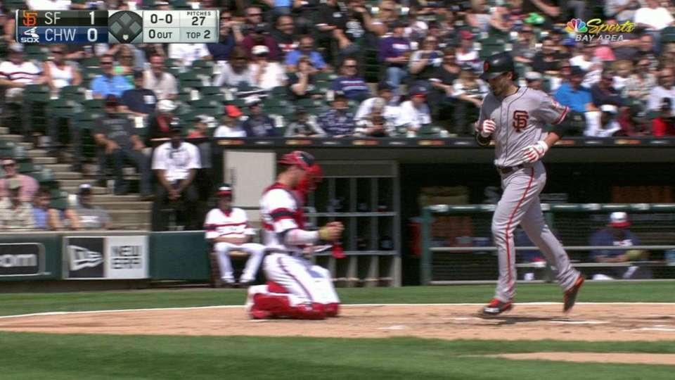 Parker's big fly to left-center