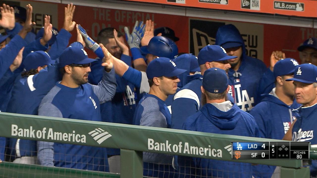 Dodgers repiten triunfo en S.F. y acortan su número mágico a 7