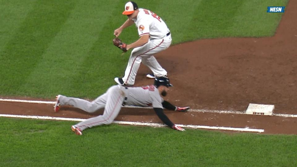Marrero's nifty slide into first