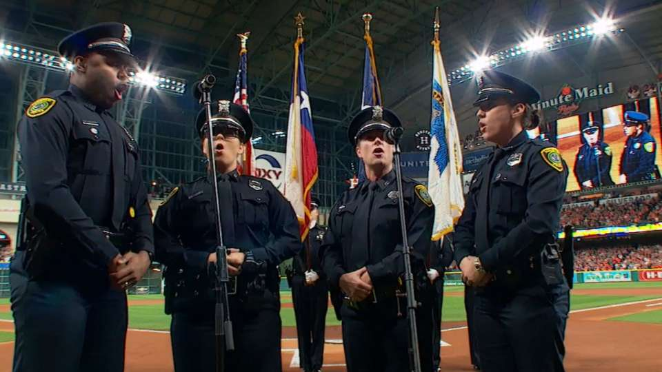 Police quartet sings anthem