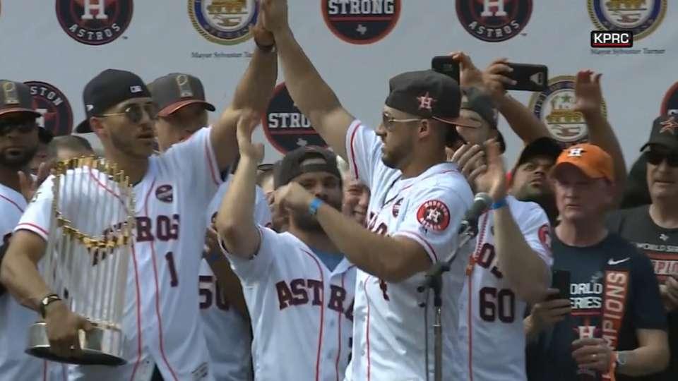 Astros introduced at WS parade