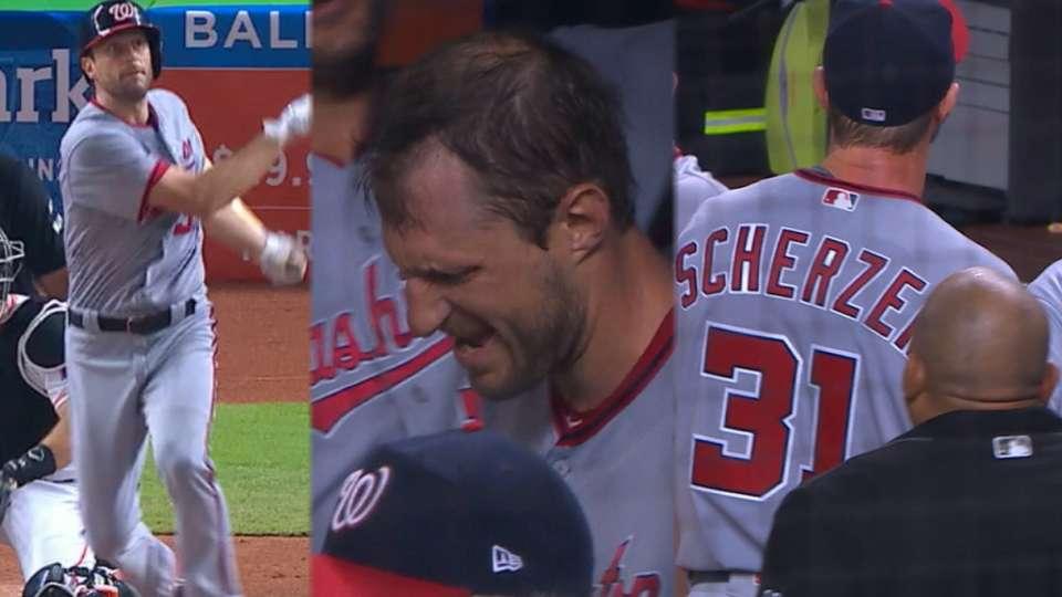 Scherzer hits homer, later exits