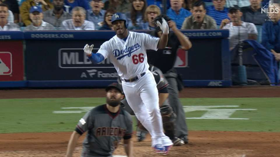 Puig flips his bat on a single