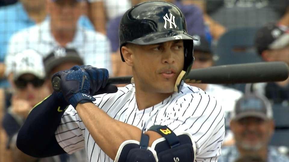 Stanton walks in Yankees debut