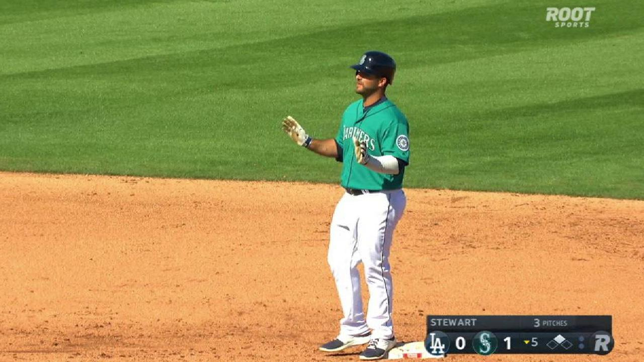 Mike ford seeing playing time at mariners camp mlb fords double to left center sciox Choice Image