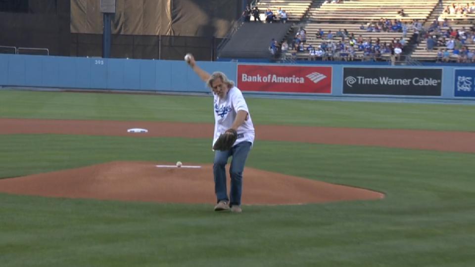Jeff Bridges' first pitch