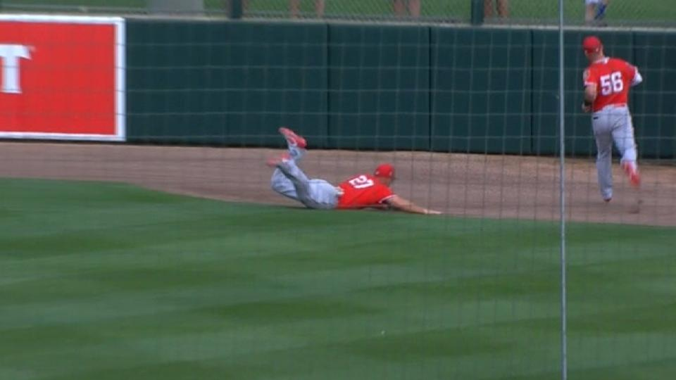 Trout lays out to make the grab