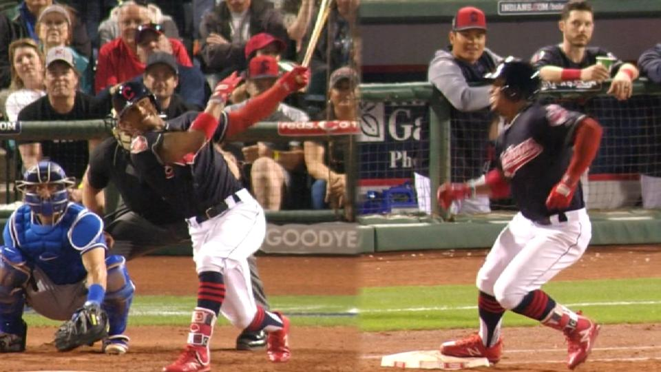 Lindor homers, misses first base