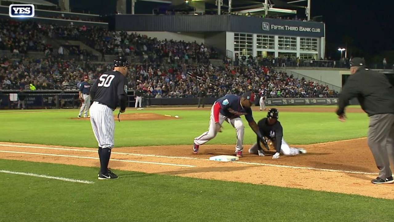 Willians Astudillo made a pick-off throw to first without