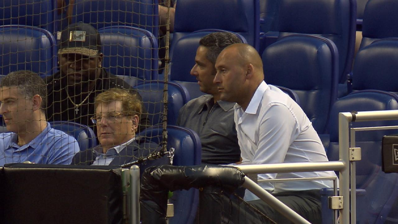 half off 9e89c 24265 David Ortiz, Derek Jeter and Jorge Posada at Marlins game ...