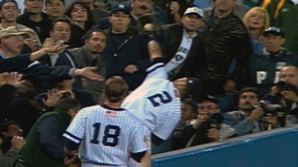 Jeter makes catch in stands