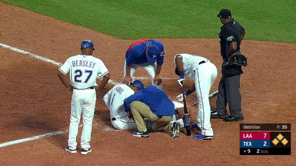 Andrus leaves game after HBP