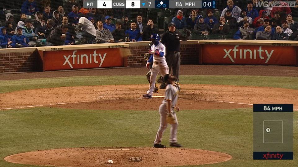 Baez flips bat on popup