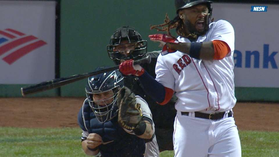 Hanley exits game after HBP