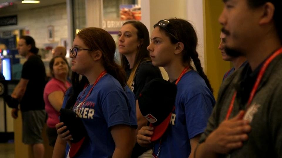 Trailblazers take in the anthem