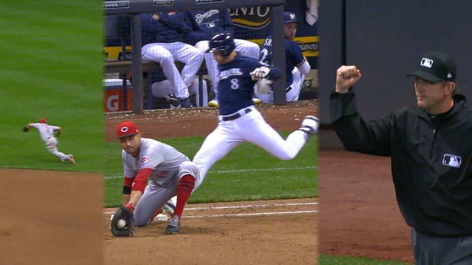 Gennett's diving play on review