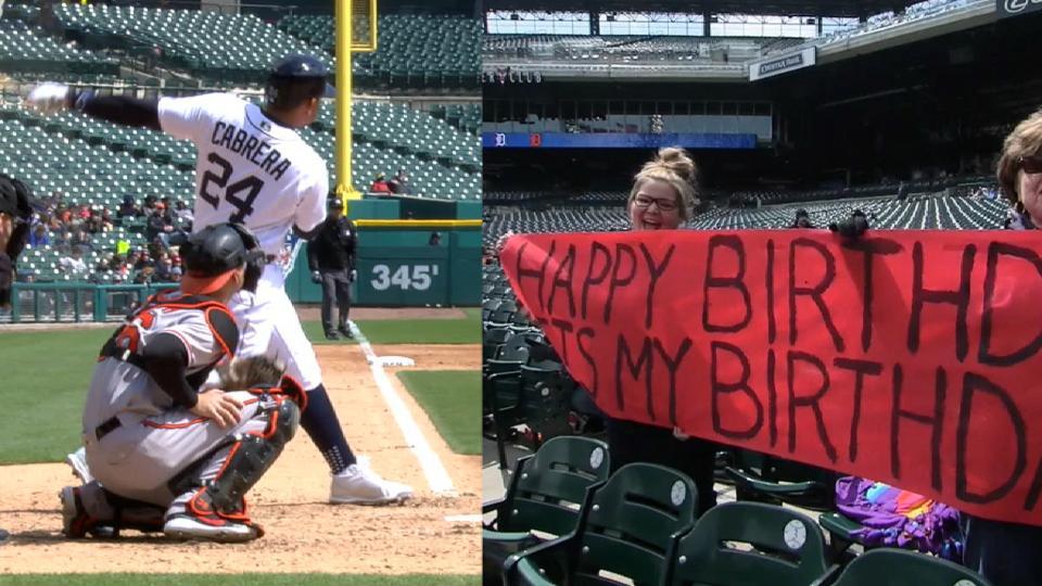 Cabrera's birthday homer