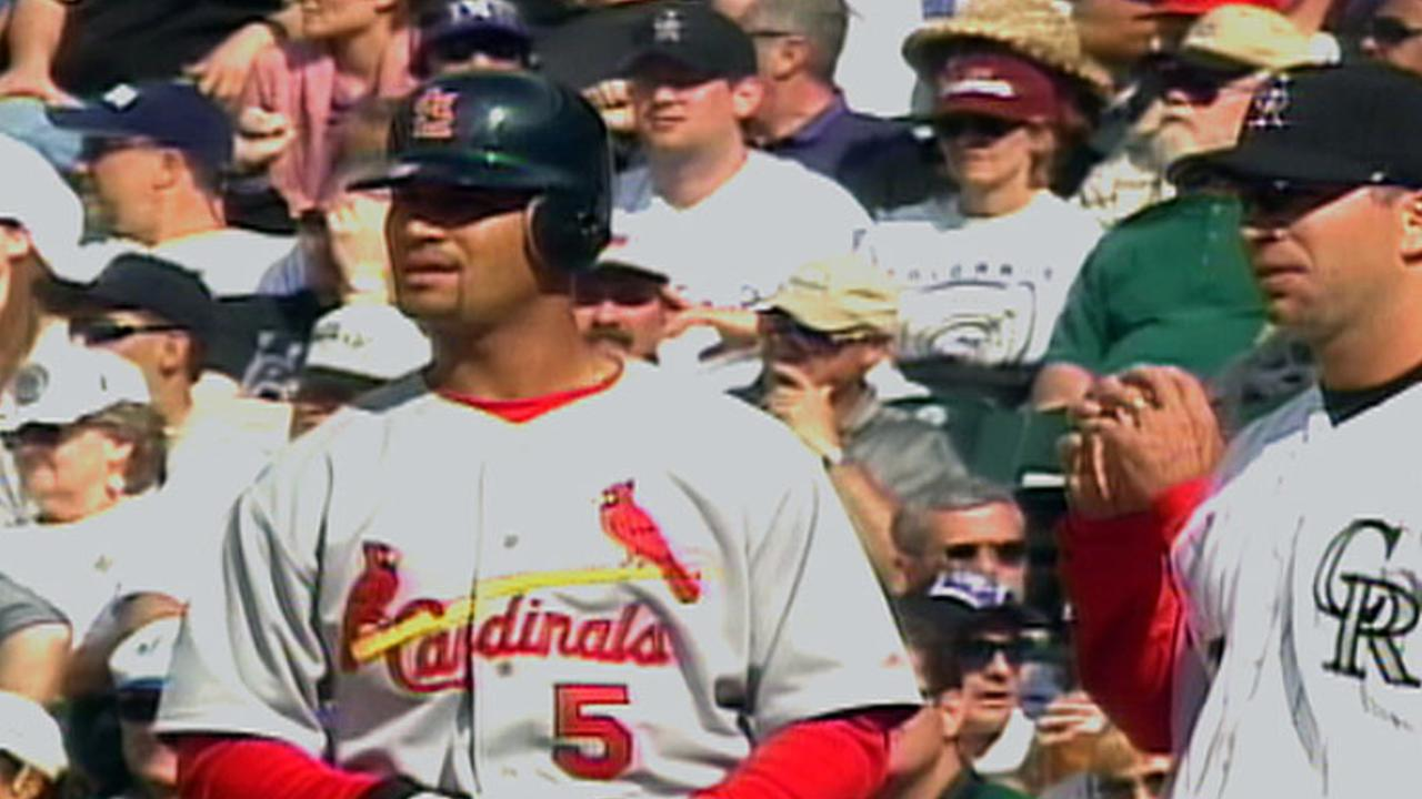 Pujols gets first MLB hit