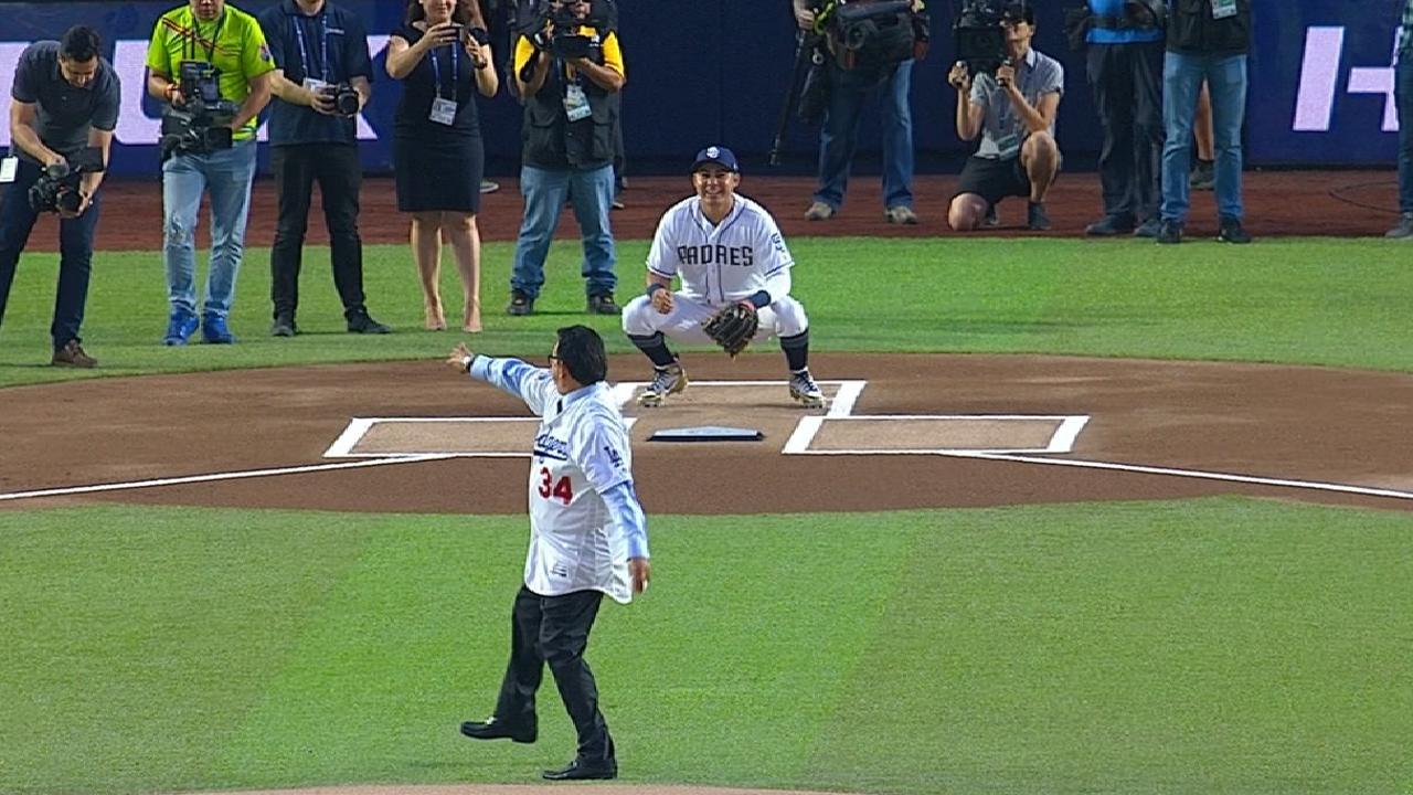 Valenzuela's first pitch