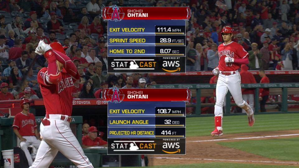 Statcast: Ohtani's double, homer