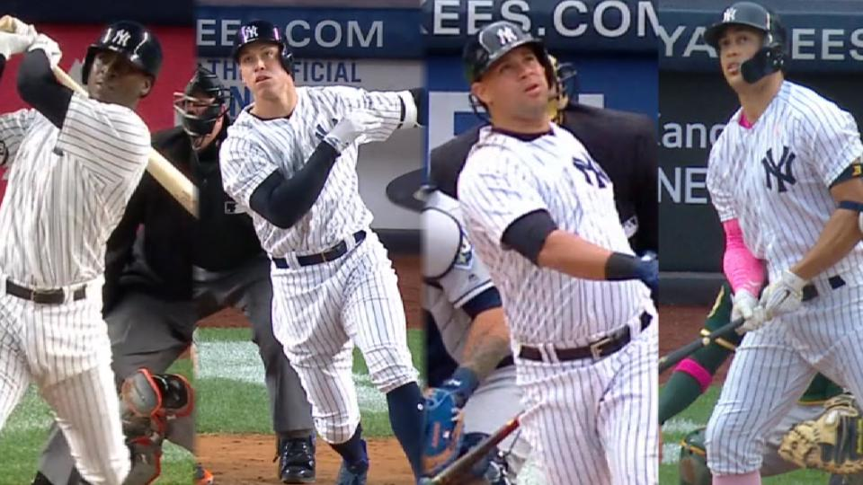 4 Yankees with 10 or more HR
