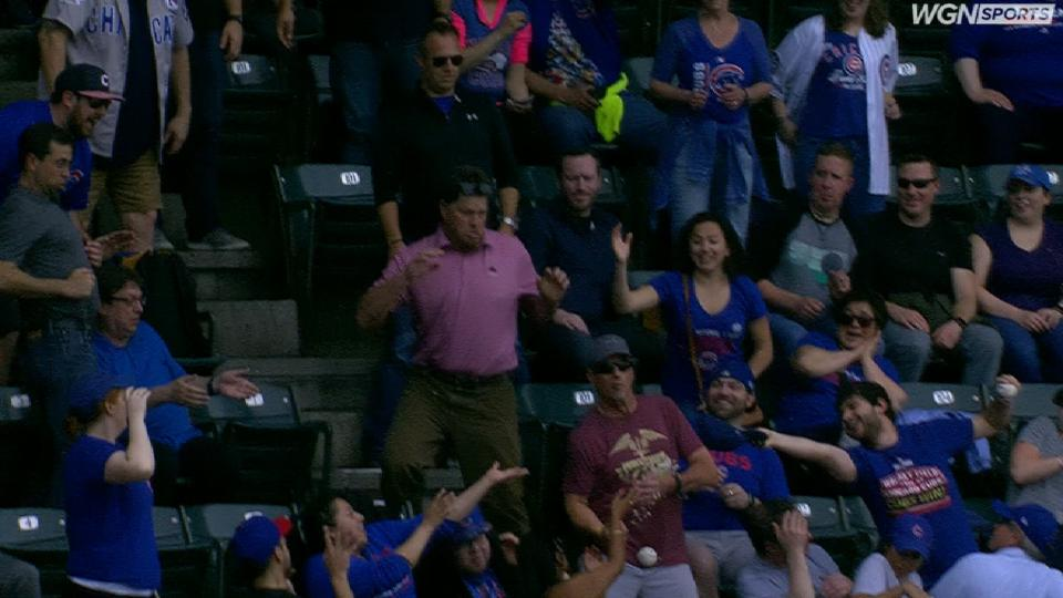 Fan drops ball and his drink