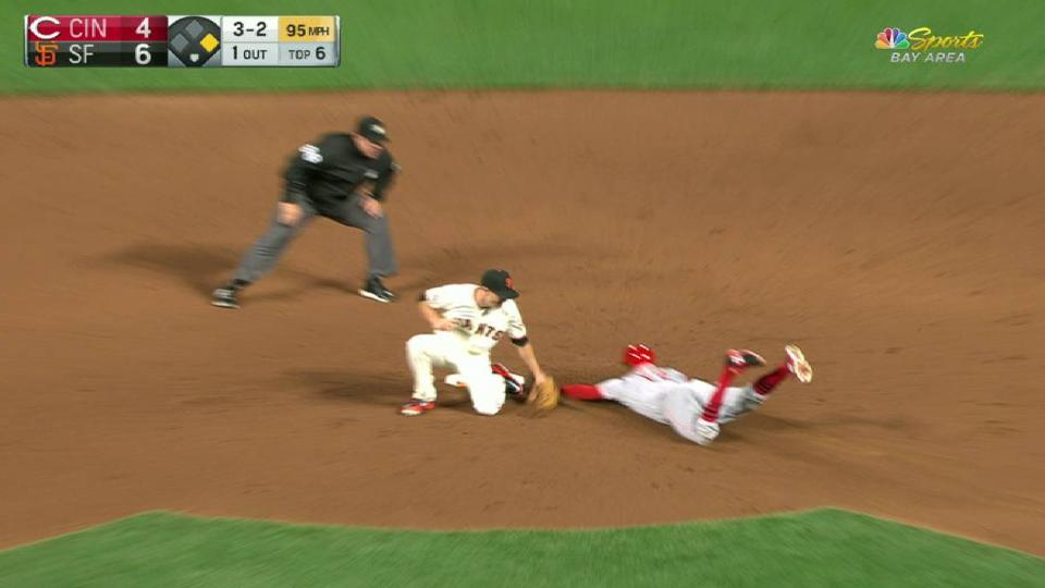 Johnson, Posey turn double play