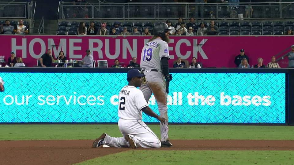Blackmon steals second in 7th