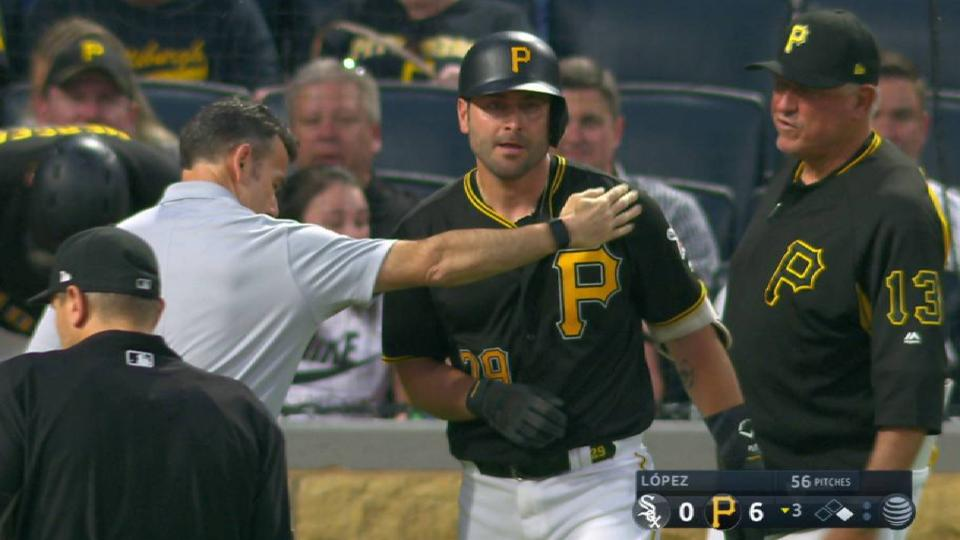 Cervelli takes pitch off arm