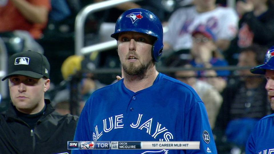 McGuire's first MLB hit