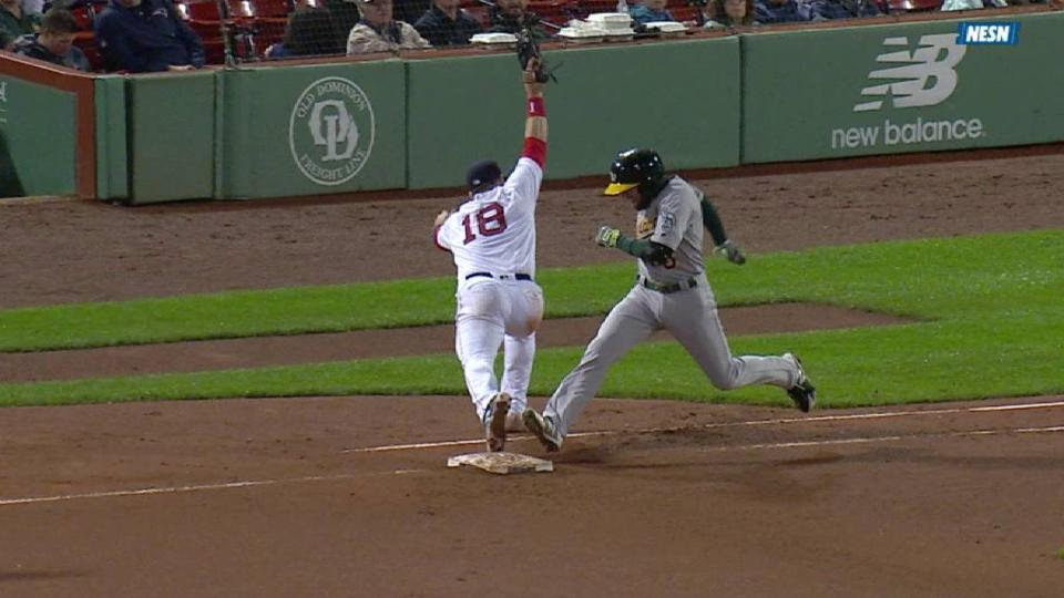 Moreland's stretch at first