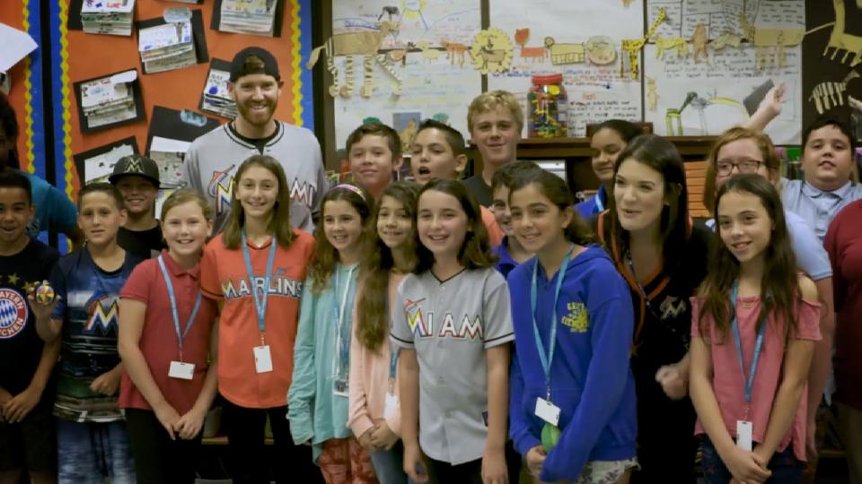 Straily makes school visit