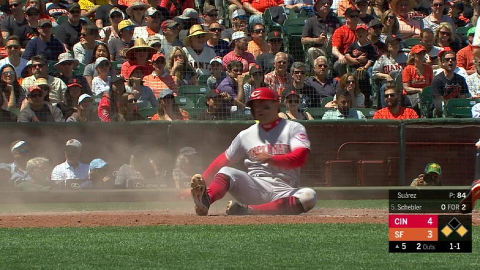 Votto scores on a passed ball