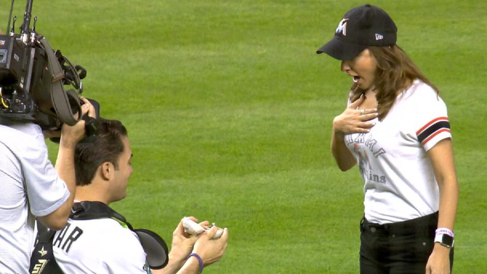 Marlins fan's surprise proposal