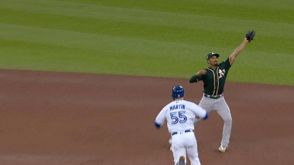 A's turn nifty double play