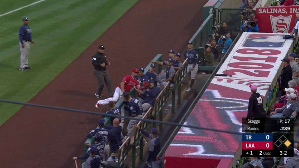 Pujols' catch by the dugout