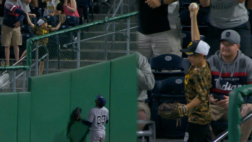 Young fan's leaping grab