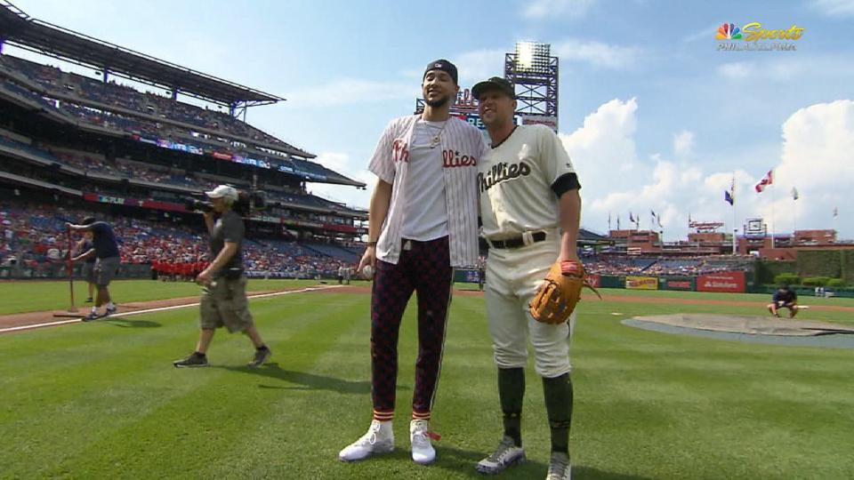 Ben Simmons tosses first pitch