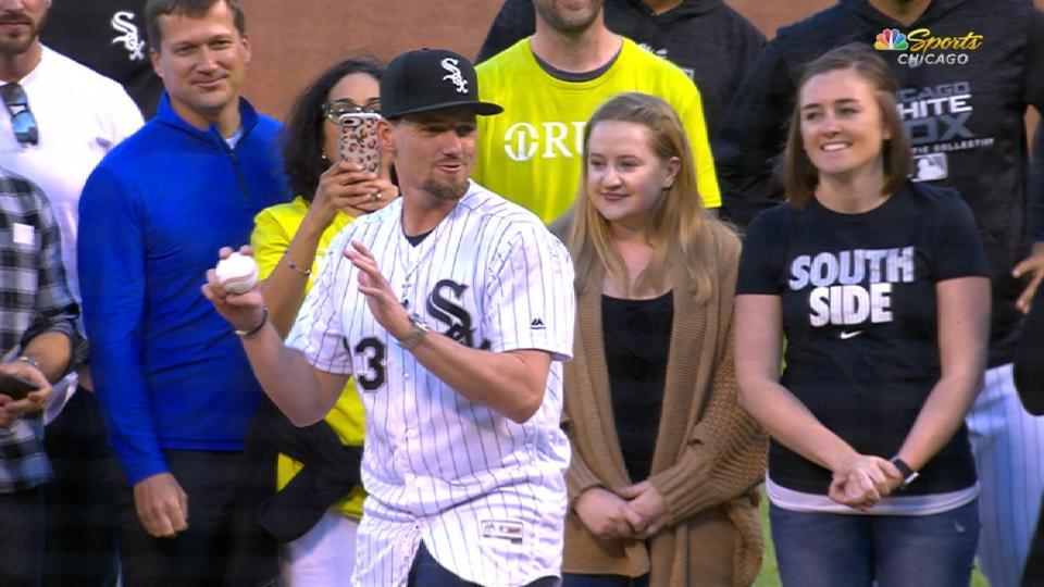 Farquhar tosses first pitch