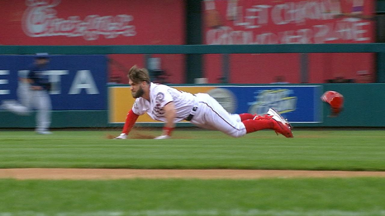 1330094f452a06 Bryce Harper tried for a double, then his helmet fell off, then he tripped  over his helmet, and then, welp