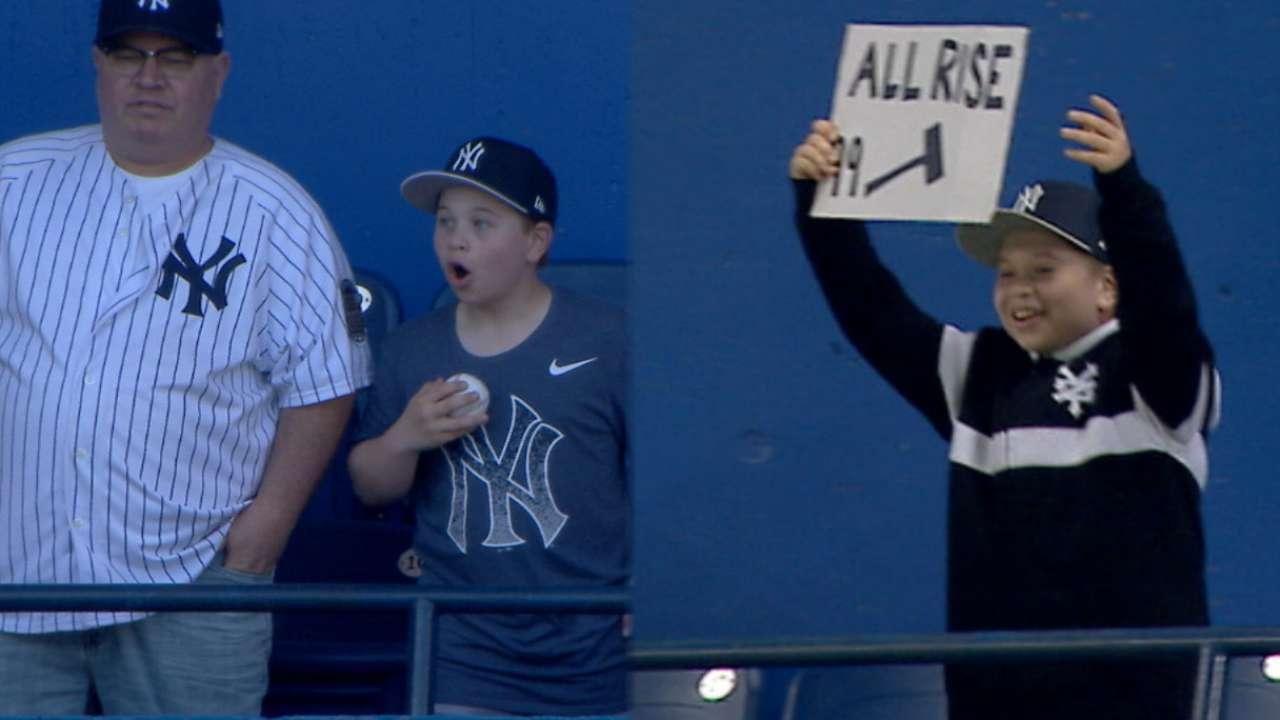 HR de Judge llenó de entusiasmo a un joven fan | New York Yankees