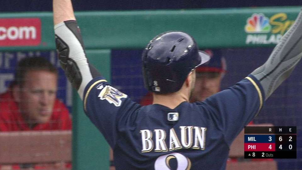 Braun's RBI single to center
