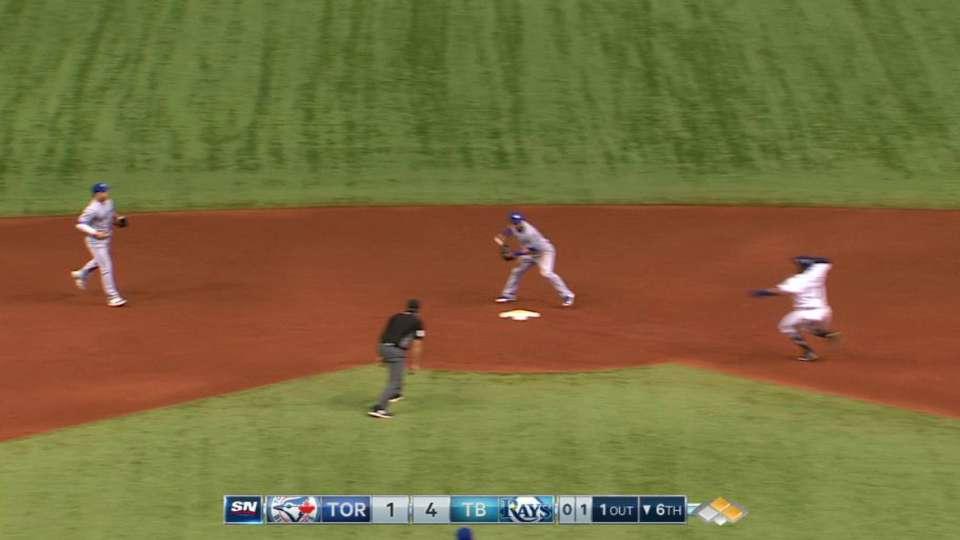 Blue Jays turn slick double play