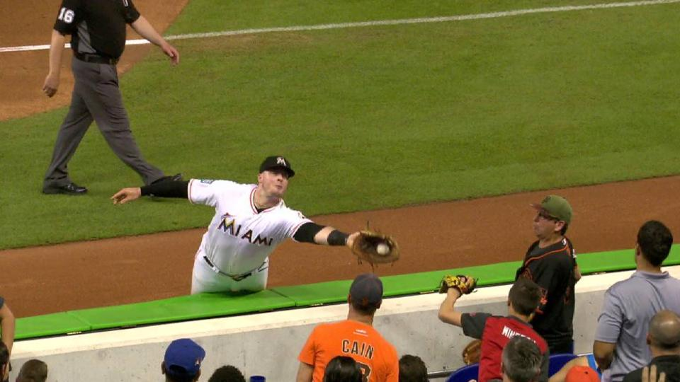 Bour's tough grab near stands