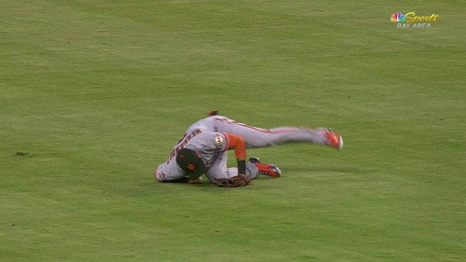 Hernandez takes a hard tumble