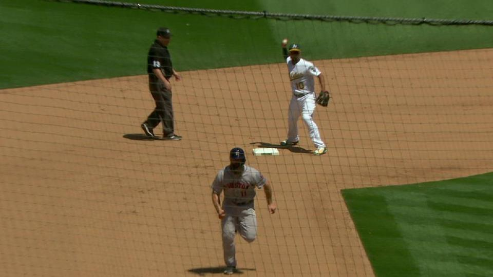 Lowrie starts a double play