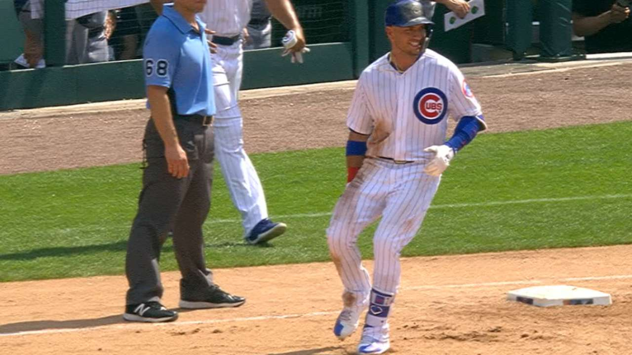 Cubs outhit twins win on hot day at wrigley chicago cubs almora jr singles exits game fandeluxe Images