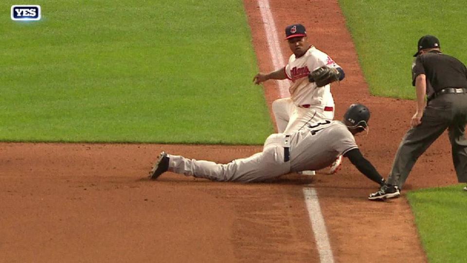 Hicks swipes third base